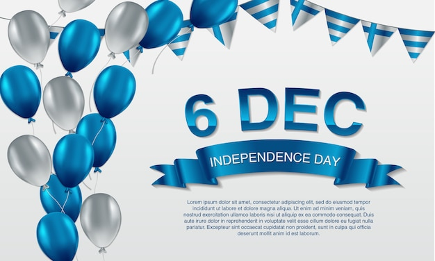 December 6th,finland independence day greeting Premium Vector