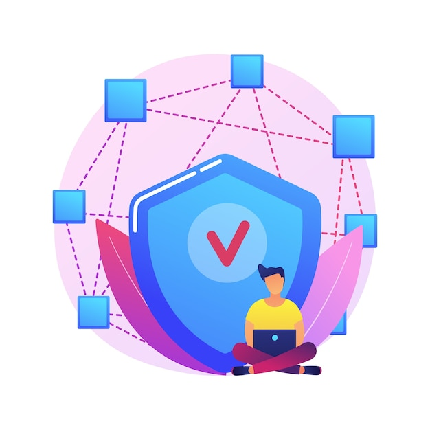 Decentralized application abstract concept  illustration. digital application, blockchain, p2p computer network, web app, multiple users, cryptocurrency, open source . Free Vector