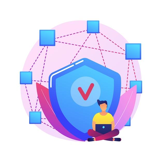 Иллюстрация абстрактной концепции децентрализованного приложения. цифровое приложение, блокчейн, компьютерная сеть p2p, веб-приложение, несколько пользователей, криптовалюта, открытый исходный код. Бесплатные векторы