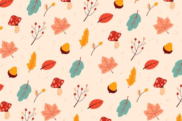 Лиственные листья рисованной фон Бесплатные векторы