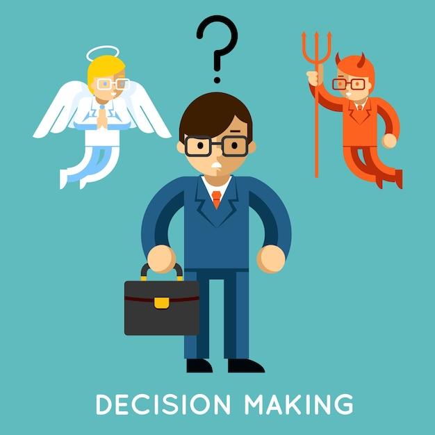 Принятие решений. бизнесмен с ангелом и демоном. выбор хорошего и плохого, дилемма конфликта Бесплатные векторы