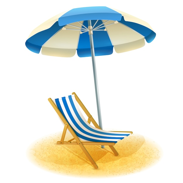 Deck chair with umbrella illustration Free Vector