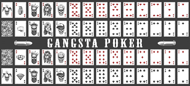 Deck of gangsta playing cards Free Vector
