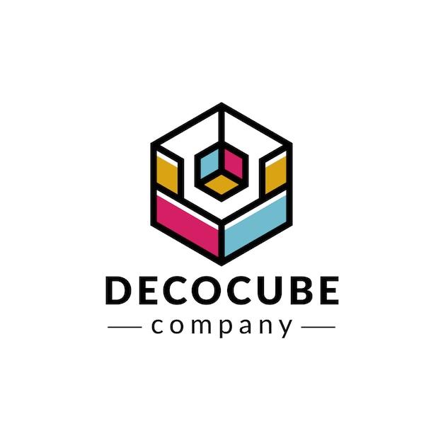 Deco cube colors logo design Premium Vector