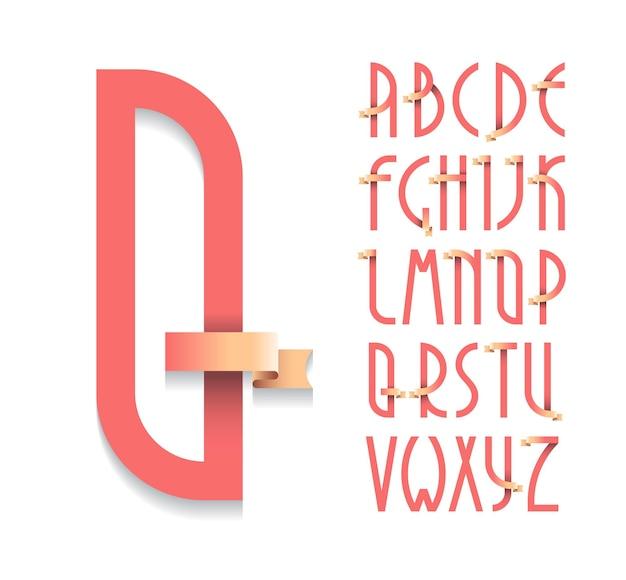 Винтажный плакат деко, шрифт. набор латинских заглавных букв в стиле ретро с лентами. Premium векторы