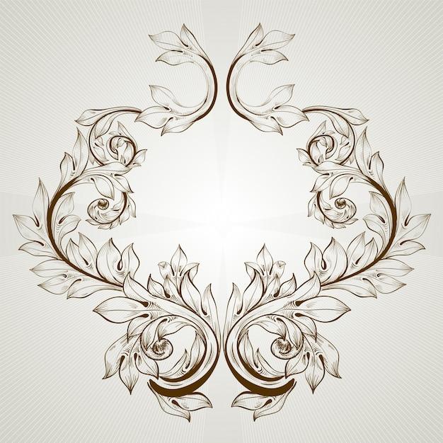 Decor retro leaf art emblem Premium Vector