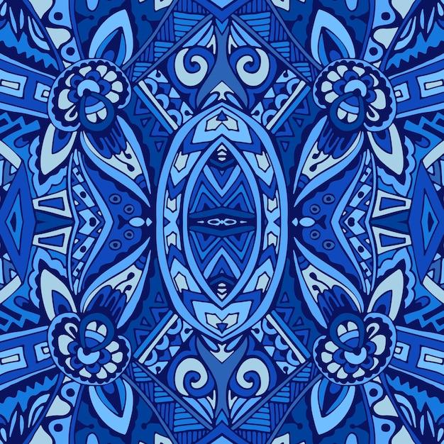 Decor tile texture print mosaic oriental pattern with blue ornament arabesque Premium Vector