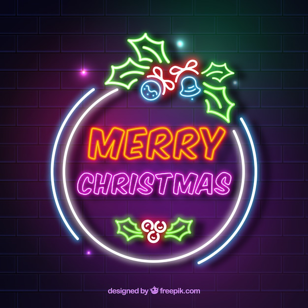 Decorated christmas background with neon lights