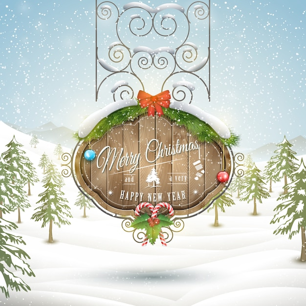 Decorated christmas board illustration. Premium Vector