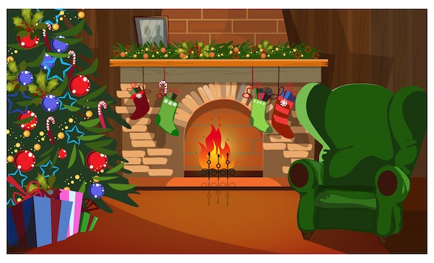 Decorated christmas interior with fir-tree, fireplace and socks Free Vector
