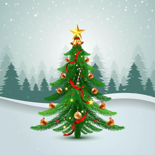 波の背景で飾られたクリスマスツリーのホリデーカード 無料ベクター