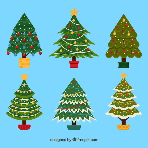 Decorated christmas trees collection