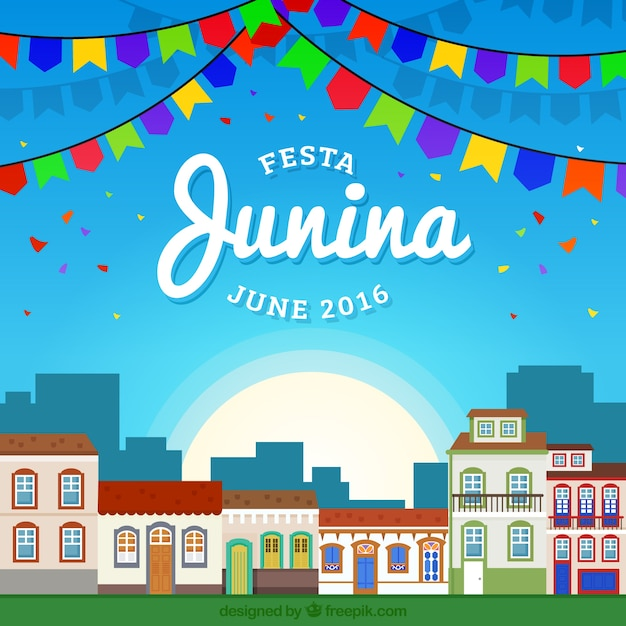 Decorated City In Festa Junina Background Free Vector