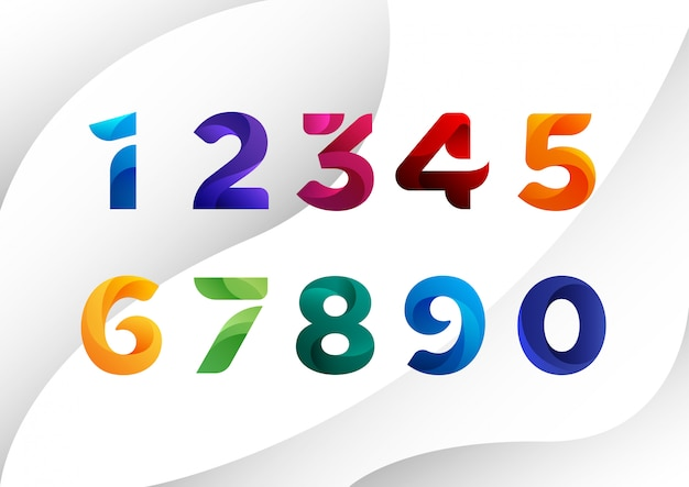 Decorated colorful abstract numbers Premium Vector