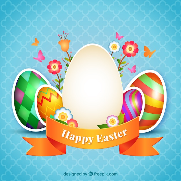 decorated easter eggs card vector free download