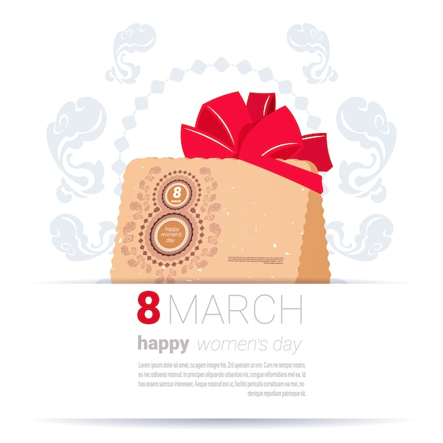 Decorated envelope with 8 march sign happy women day template background creative greeting card design Premium Vector