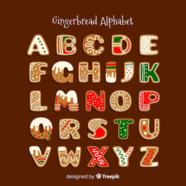 Decorated gingerbread alphabet Free Vector