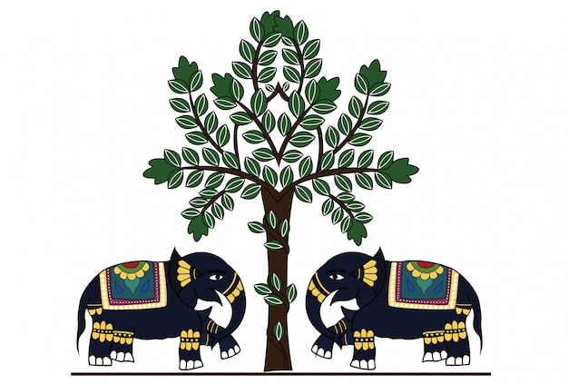 Decorated indian elephant Premium Vector