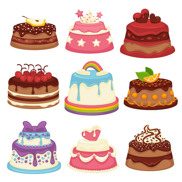 Decorated sweet festival cakes collection isolated on white. Premium Vector