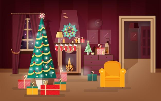 飾られた冬の休日のリビングルームは、クリスマスツリーの下に存在する新年を示しています。カラフルなベクトルのイラスト。 Premiumベクター