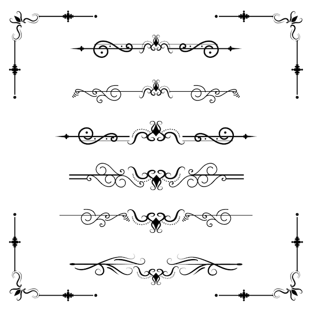 テキストセパレータdecoraticeディバイダー本タイポグラフィ飾りデザイン要素ヴィンテージ分割図形境界線図 Premiumベクター