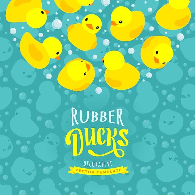 Decorating design made of yellow rubber ducks Premium Vector