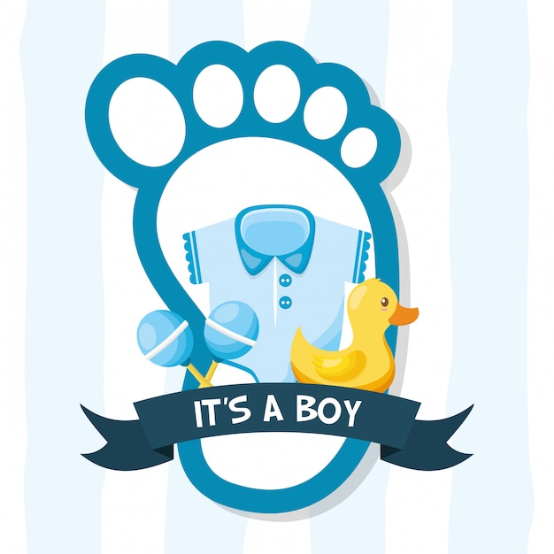 Decoration for baby shower card Free Vector