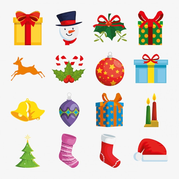 Decoration christmas with icons set Free Vector
