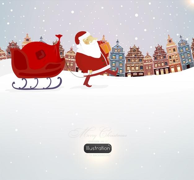 decoration elegant december art santa Premium Vector
