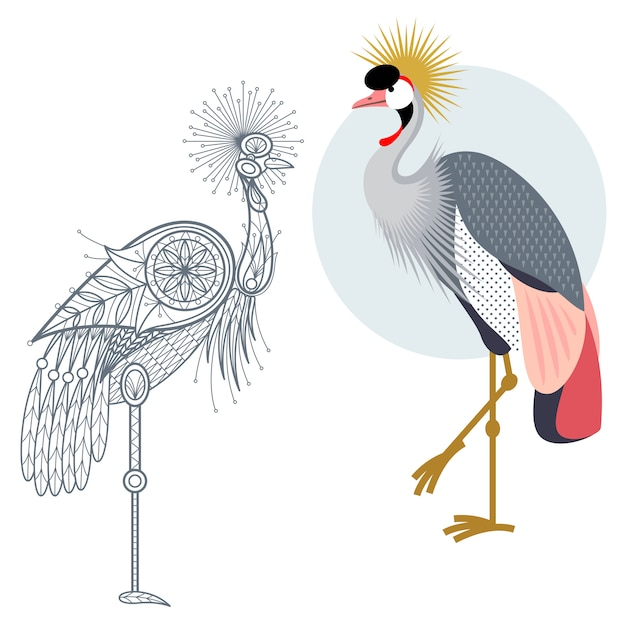 Decoration and flat crowned crane. Premium Vector