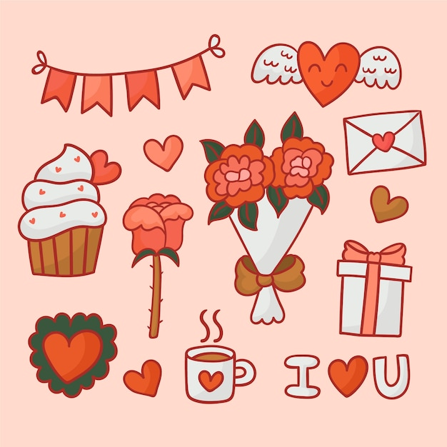 Decoration and objects for a happy valentine's day Free Vector
