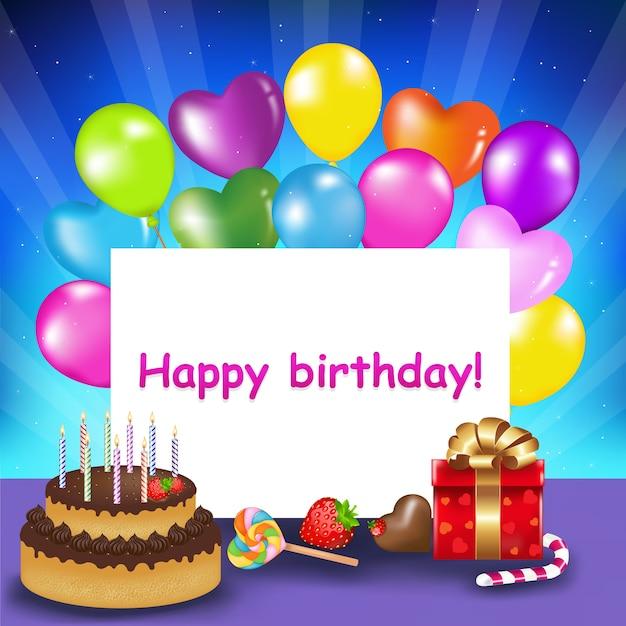 キャンドル、風船、お菓子、ギフト、イラスト付きの誕生日ケーキで誕生日の準備ができている装飾 Premiumベクター