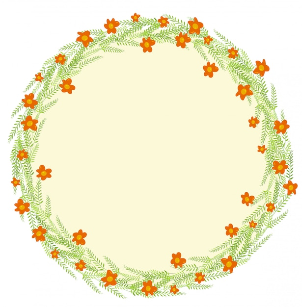 Decoration  with leaves and flowers Free Vector