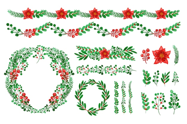 Decorations for christmas in watercolor Free Vector