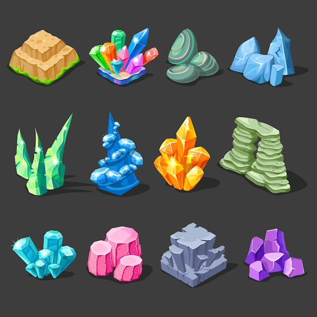 Decorations of stones collection Free Vector
