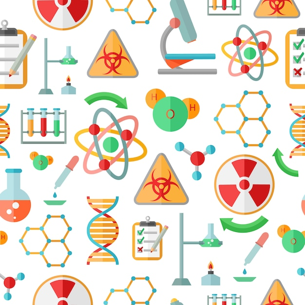 Decorative abstract chemistry  dna research symbols Free Vector