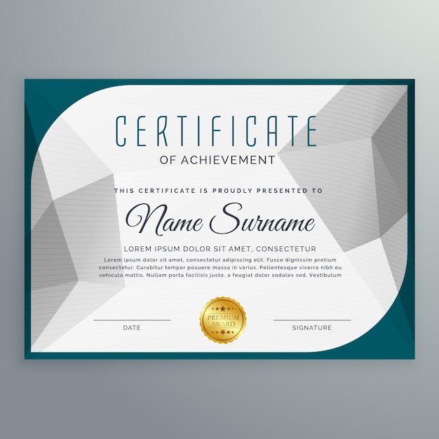 Decorative Achievement Certificate Template Vector Free Download