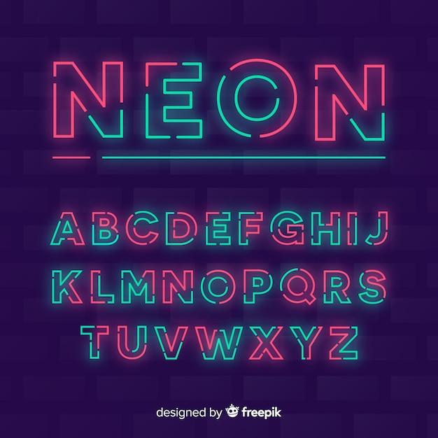 Decorative alphabet template neon stytle Free Vector