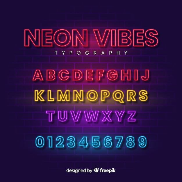 Decorative alphabet template neon stytle Free Vector