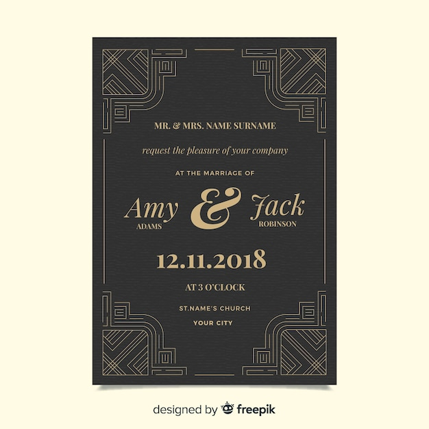 Decorative and beautiful art deco wedding invitation template Free Vector