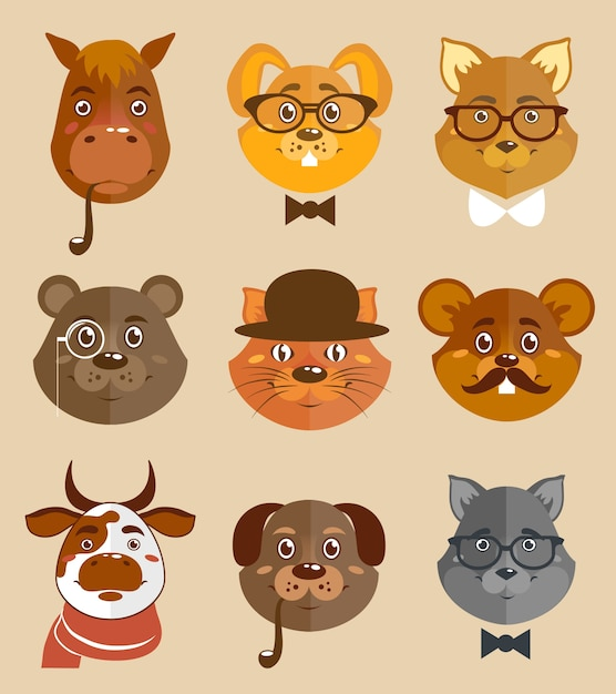 Decorative animal hipsters icons set cat horse\ dog and bear in hats and bow ties vector illustration.