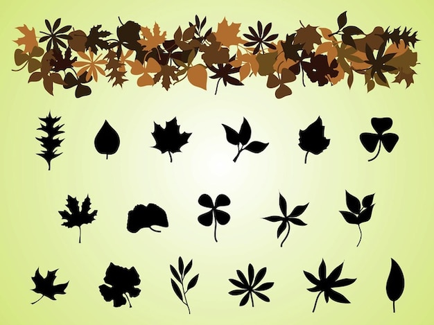 Decorative autumn leaves silhouettes