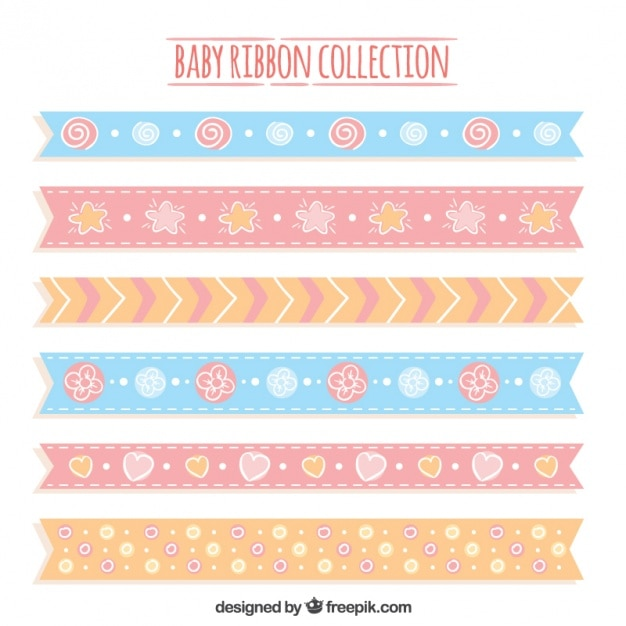 Decorative Baby Ribbons In Pastel Colors Vector Free