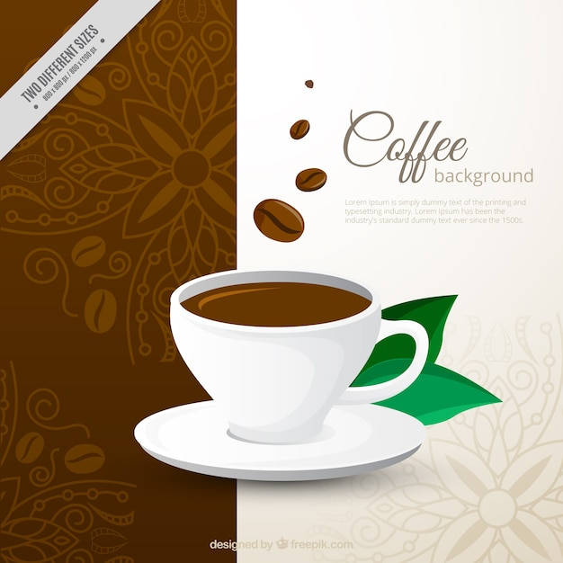 Decorative background of coffee cup Premiumベクター