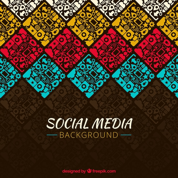 Decorative background of colored social networks Free Vector