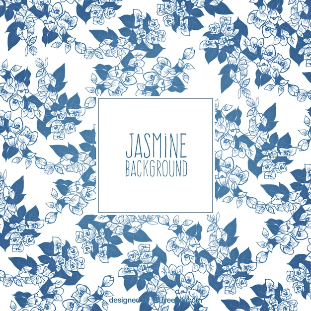 Decorative background of hand drawn jasmines