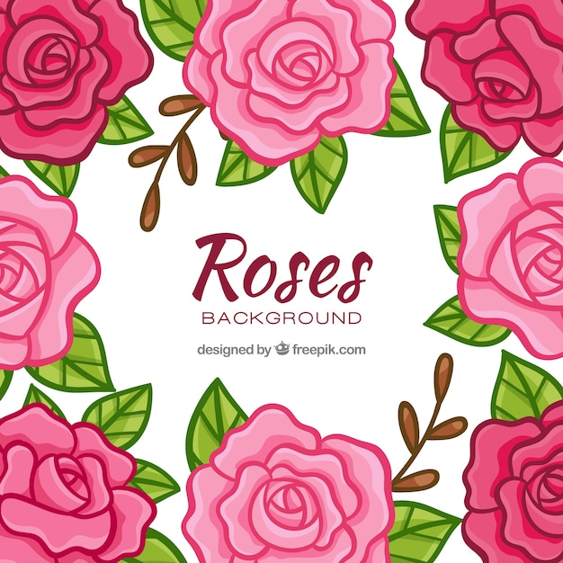 Decorative background of hand drawn\ roses