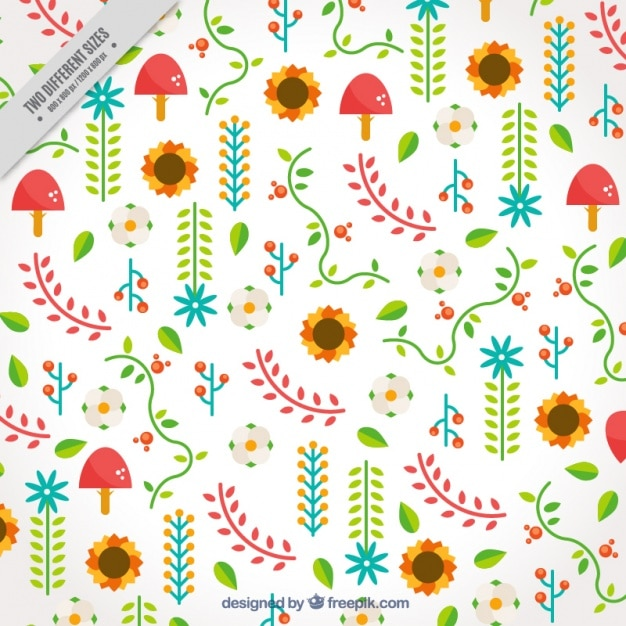 Decorative background of leaves and\ flowers