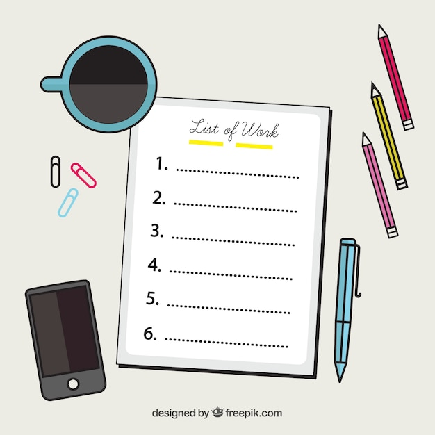 decorative office supplies. Decorative Background With Checklist And Office Supplies Free Vector T
