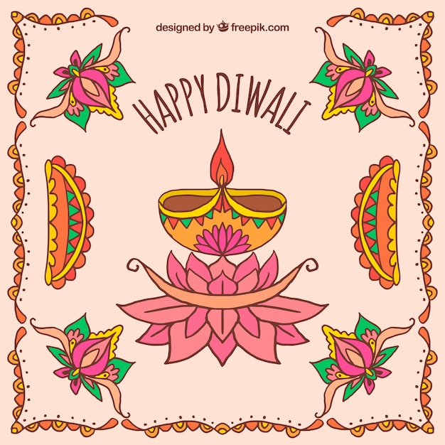 Decorative background with diwali candles and hand drawn flowers